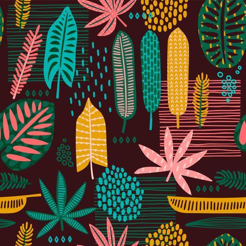 Padrão sem emenda tribal com folhas abstratas.