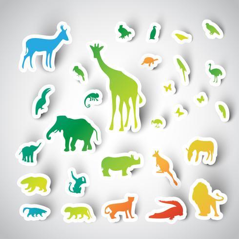 Raccolta degli animali dell'autoadesivo dello zoo, vettore