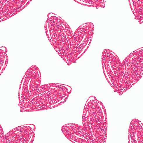 Vector seamless pattern with hand drawn glitter hearts.