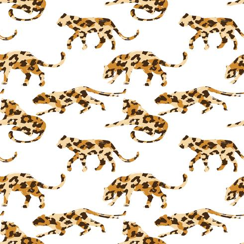 Seamless exotic pattern with abstract silhouettes of animals.