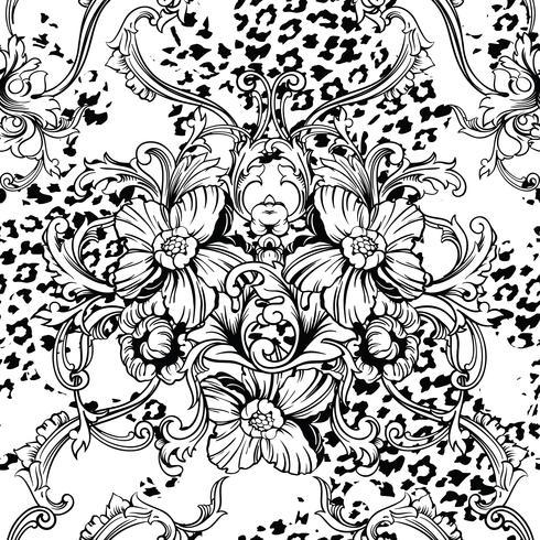 Tejido ecléctico sin patrón. Fondo animal con adorno barroco. vector