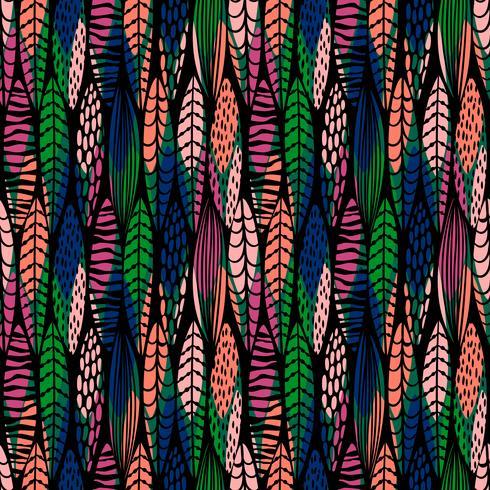 Modèle sans couture tribal avec des feuilles abstraites.