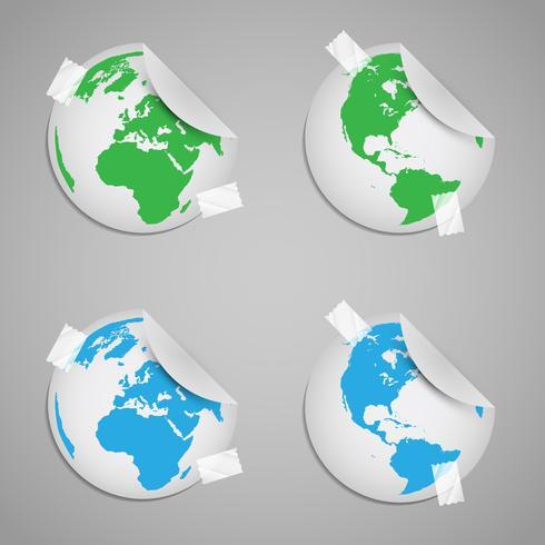 Pegatina de mundos con signos ecológicos.