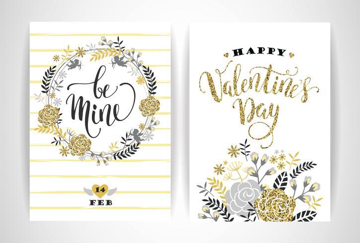 Set van Happy Valentines Day-kaarten. vector