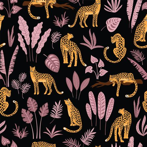 Vestidos de patrones sin fisuras con leopardos y hojas tropicales.
