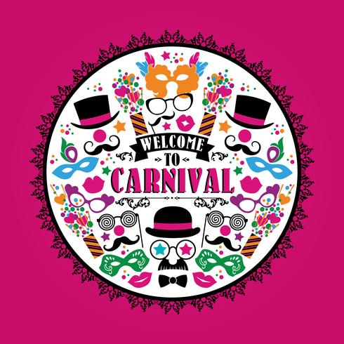 Ilustração festiva de celebração com ícones e objetos de carnaval