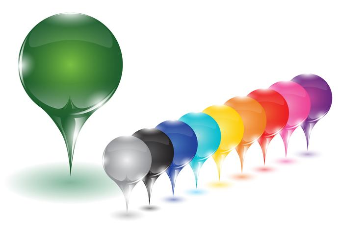 10 verschillende gekleurde pinnen, vector