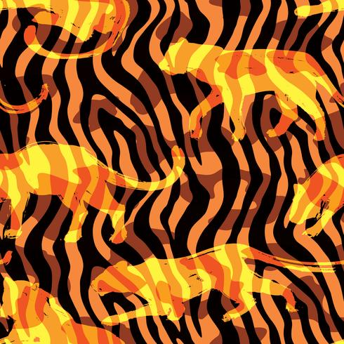 Seamless exotiskt mönster med silhuetter av djur.