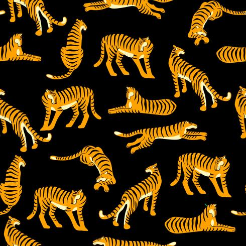 Seamless exotic pattern with tigers. Vector design.