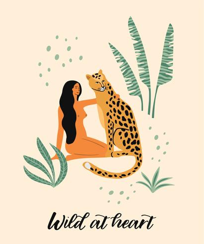 Be wild. Vector illustration of woman with leopard.