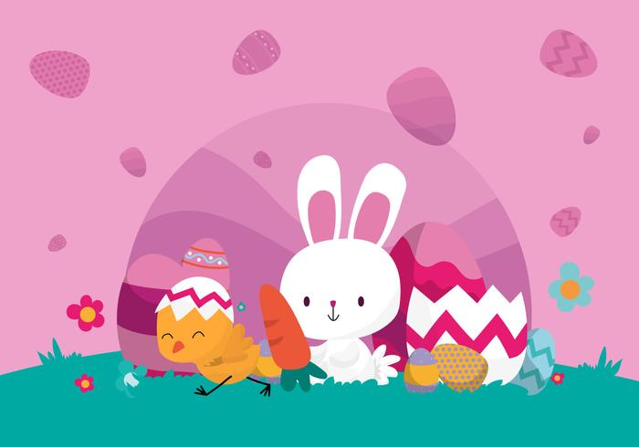 Cute Bunny Celebrate Easter Vector Illustration