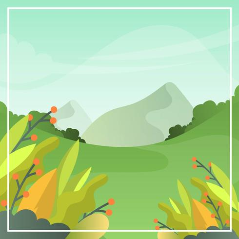 Flat Landscape Spring Vector Wallpaper