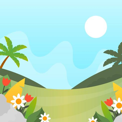 Flat Simple Spring Landscape Vector Wallpaper