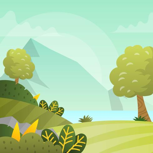 Flat Modern Spring Landscape Vector Wallpaper