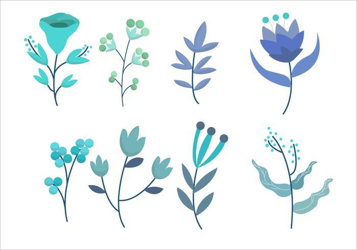 Illustration vectorielle de pétales de fleurs bleues Set