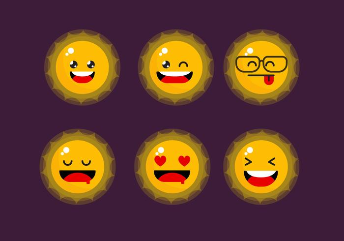 Cute Sun Emoticon Clipart Set Vector Illustration Download Free Vectors Clipart