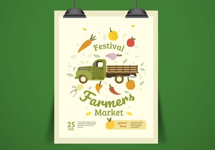 Farmer Market Truck Flyer plantilla ilustración vectorial