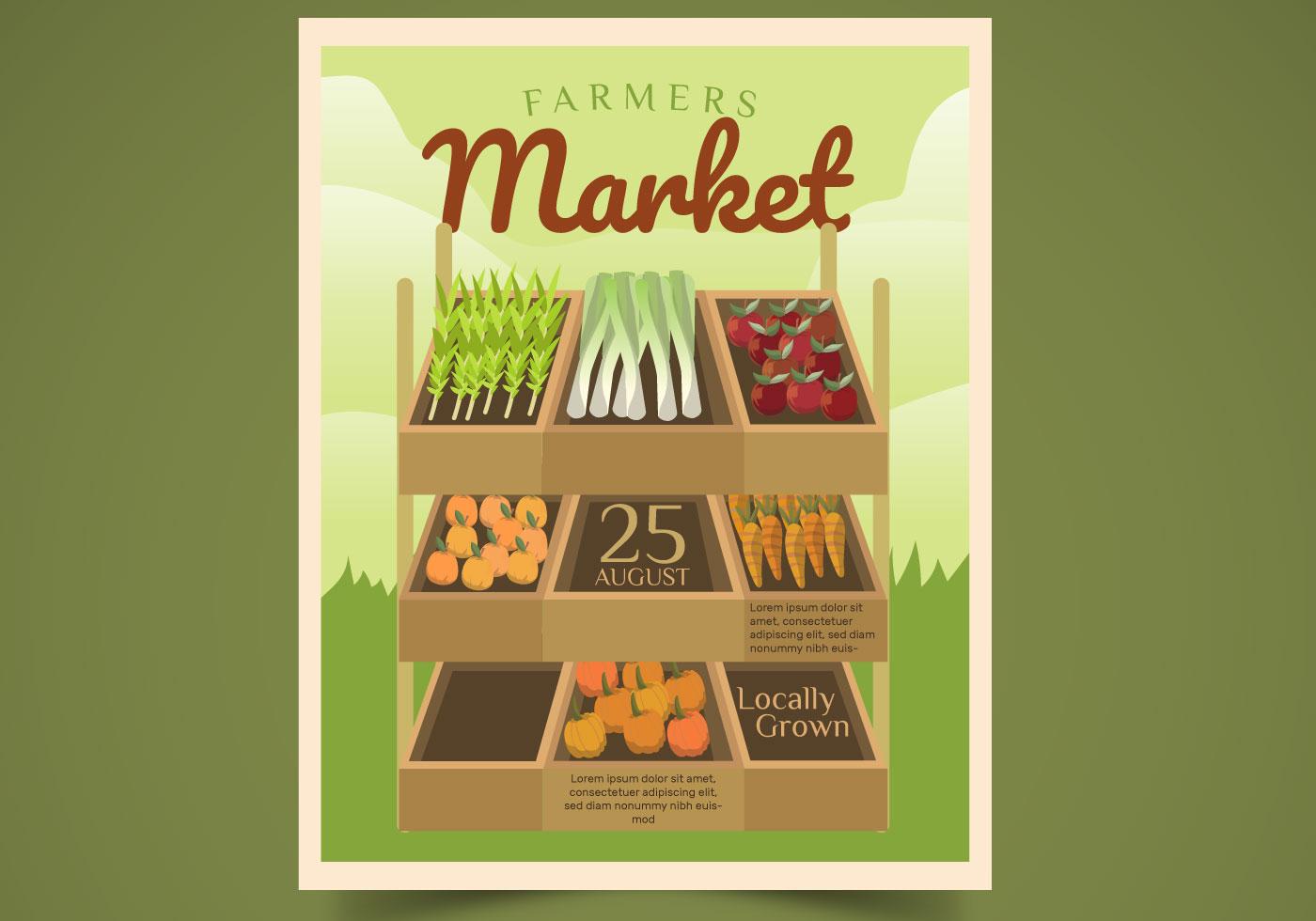 Flyer Design Farmer Market Vector Illustration - Download ...