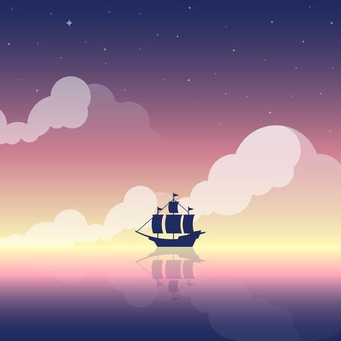 Vintage Ship Sailed At Dawn On Ocean Background Illustration