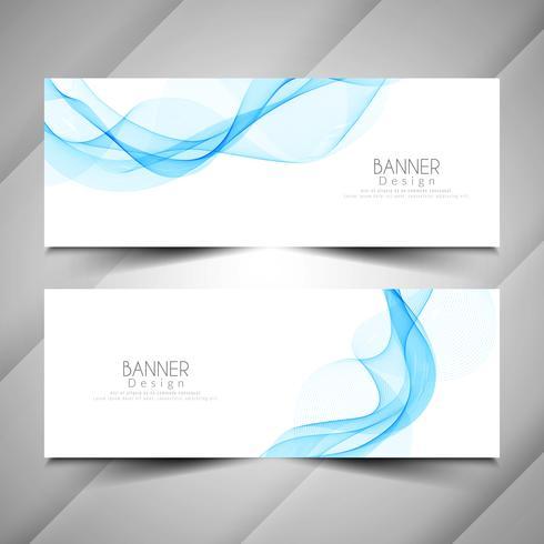 Conjunto de banners de estilo ola con estilo abstracto