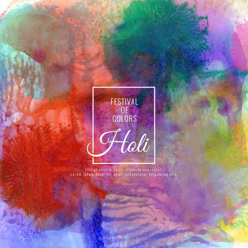 Resumo feliz Holi festival colorido elegante ilustração de fundo vetor