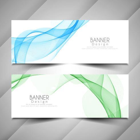 Conjunto de banners de estilo moderno abstracto de la onda