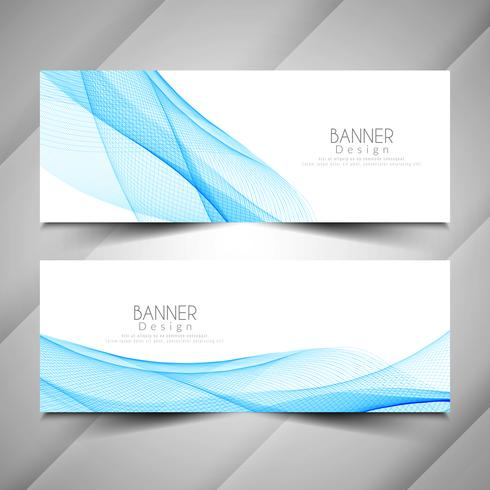 Conjunto de banners elegante estilo abstracto de la onda