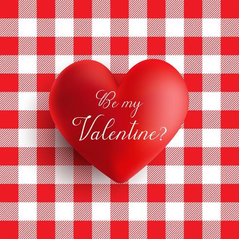 Coração de dia dos namorados em um padrão de guingão vermelho e branco