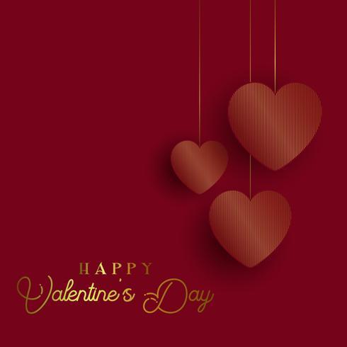 Alla hjärtans dag bakgrund med guld hjärtan vektor
