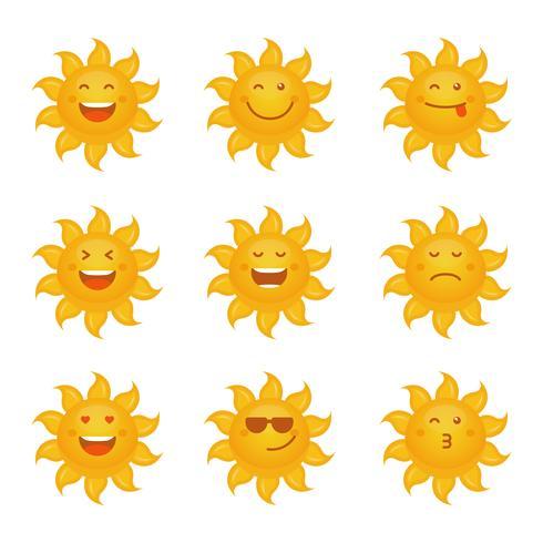Colección de vectores del conjunto de emoticonos Sun Clipart