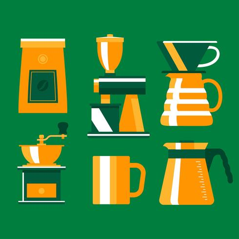 Flat Coffee Elements Clipart Set Vector