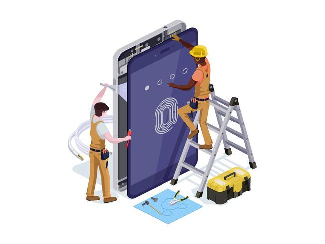 Vector de personas en forma de un servicio de reparación de teléfono