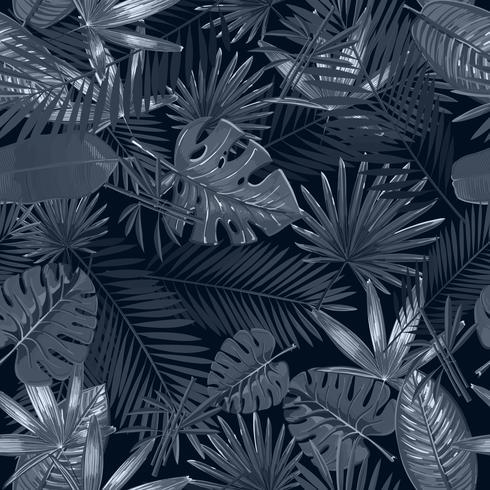Naadloos patroon met tropische palmbladen op zwarte achtergrond vector