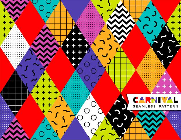 Carnival seamless pattern in Memphis style.