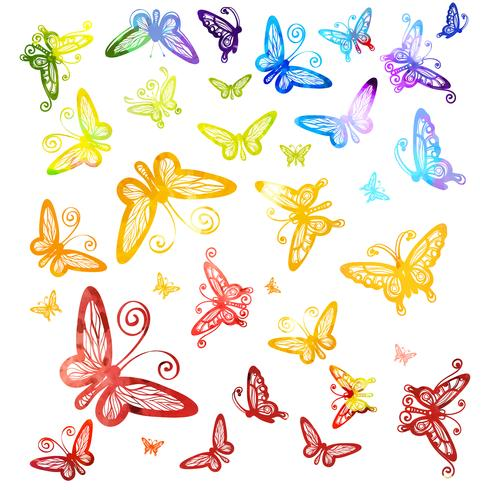 Watercolor multicolored butterflies isolated on white background.