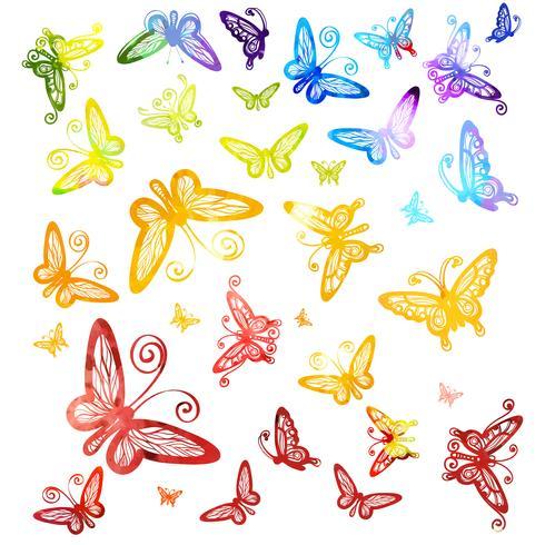 Waterverf multicolored vlinders op witte achtergrond worden geïsoleerd die.