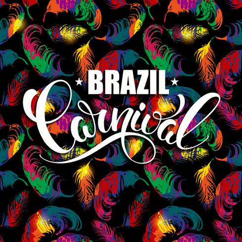 Brazil Carnival lettering design on a bright background with abstract feathers.