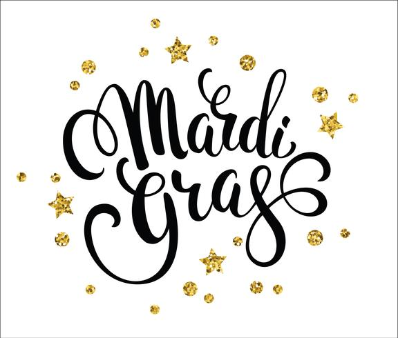 Mardi Gras. Glittering lettering design for Banners, Flyers, Pla vector