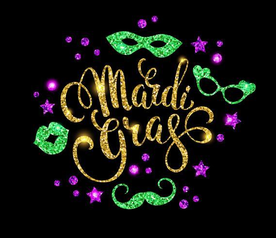 Mardi Gras. Motif de lettrage scintillant pour bannières, flyers, pla vecteur
