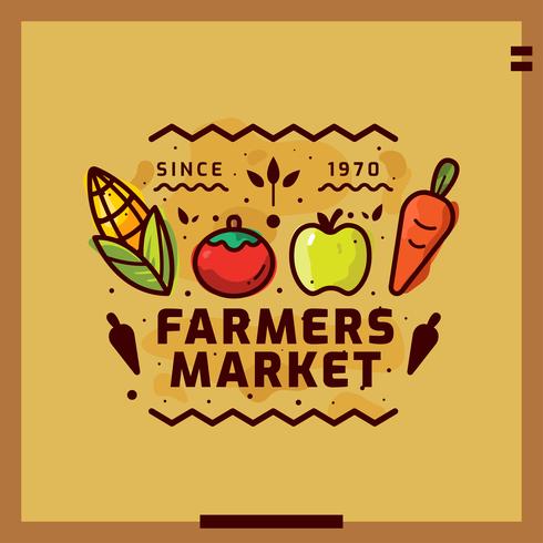 Ilustración de vector de mercado de agricultores