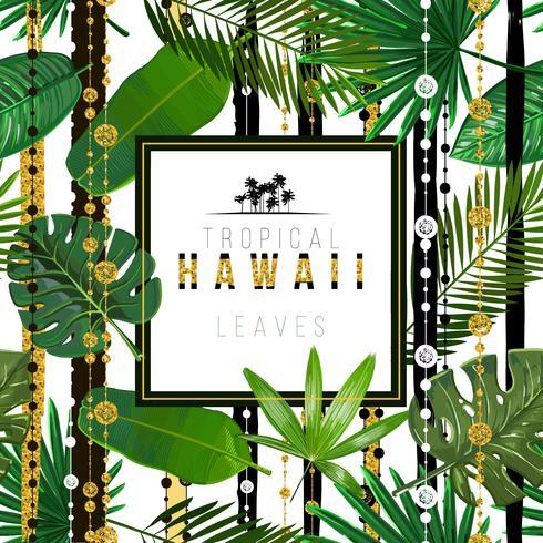 Vektor sömlöst mönster med tropiska löv med etniska designmönster