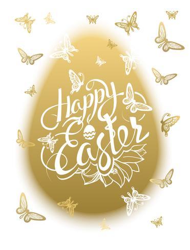 Aufschrift fröhliche Ostern um mehrfarbige Schmetterlinge des Aquarells vektor