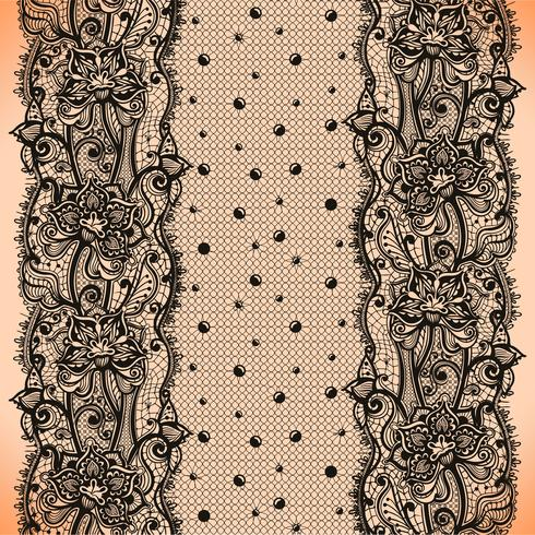 Patrón inconsútil de la cinta de encaje abstracto con elementos flores y puntos vector