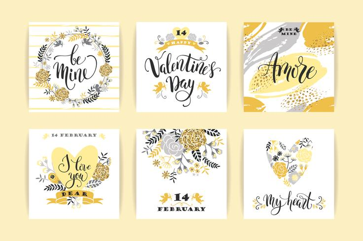 Set of Happy Valentines Day cards. vector