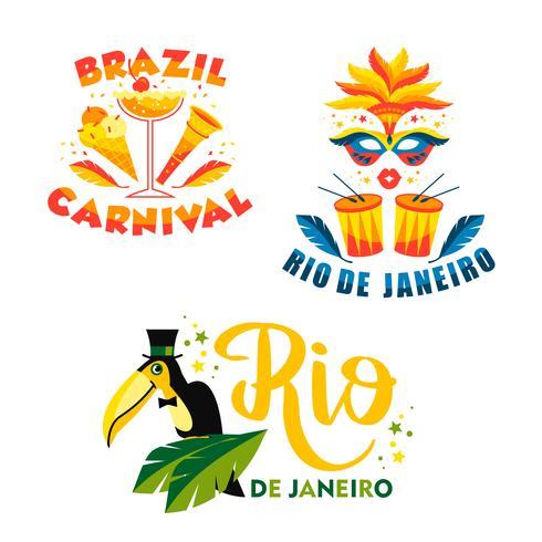 Carnaval brasileño Gran conjunto de emblemas vectoriales.