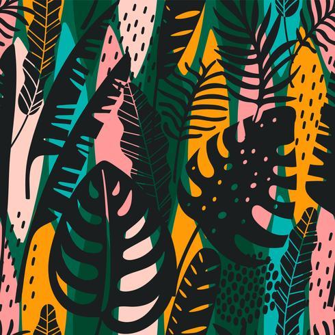 Abstrata sem costura padrão com folhas tropicais. Mão desenhar textura. vetor