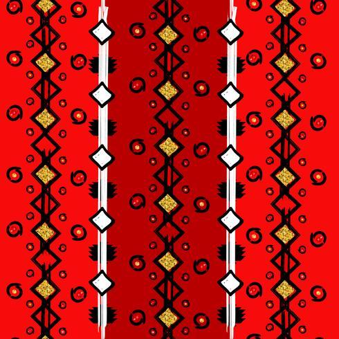 Motif vertical ethnique homogène, lignes et points en zigzag vecteur
