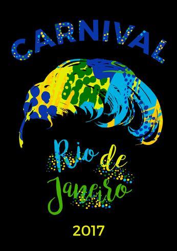 Rio Carnival. belettering ontwerp met hand tekenen veer. vector