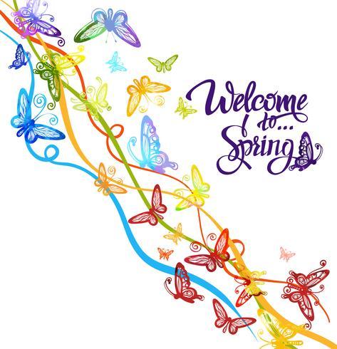 Inscriptie Welkom bij de lente rond aquarel veelkleurige vlinders vector