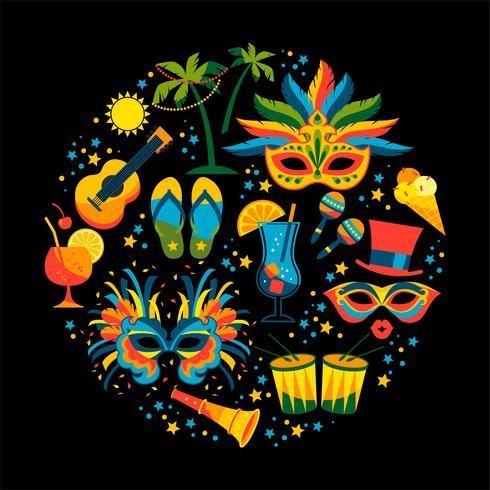 Carnaval brasileño Vector ilustración plana.